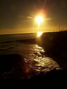 Sunset at West Cliff Drive in Santa Cruz, one of my favorite places to check out live musicians. (Flickr/Phil Baird)